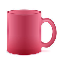 Red semi-transparent mug isolated. Empty Frosted  cup.