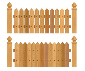 Wooden fence with columns - dark wood.
