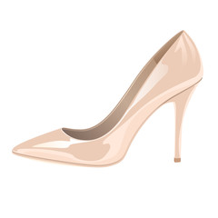 Glossy lady's shoe on white background - nude color.