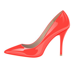 Glossy lady's shoe on white background - red color.