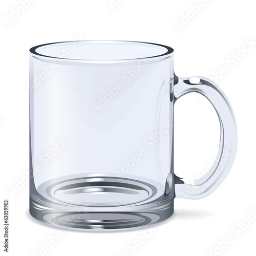 Transparent glass mug isolated. Empty cup.