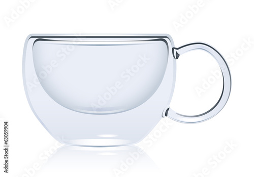 Transparent round glass mug isolated. Empty cup.
