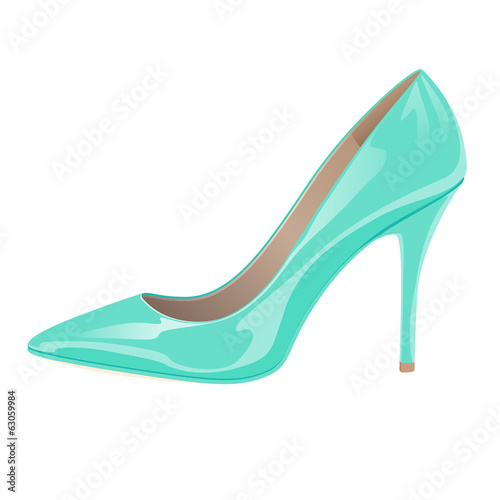 Glossy lady's shoe on white background - turquoise color.