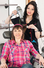 hairdresser and client at the salon