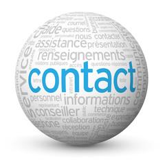 """Globe """"CONTACT"""" (bouton coordonnées service clients aide)"""