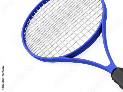 Blue tennis racket on white