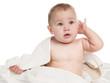 Little baby in bath towel