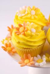cupcake margherite gialle,bianche e arancioni