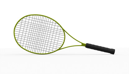 Green tennis racket isolated on white