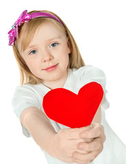 beautiful girl holding a red  heart