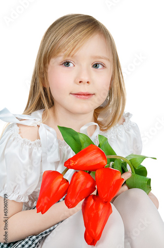 girl holding tulips