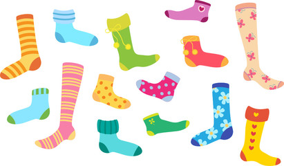 Set of socks of different colors and design