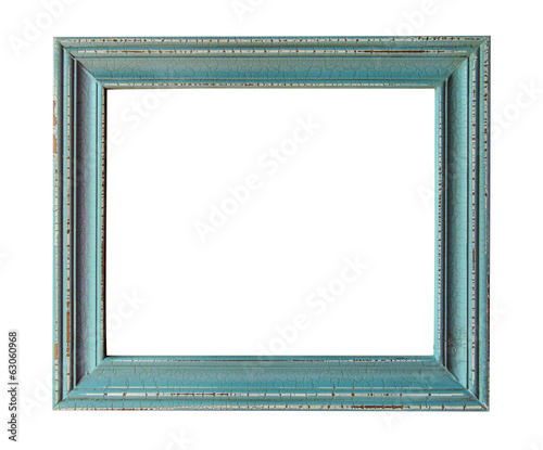 Wooden photo frame empty Isolated on white background