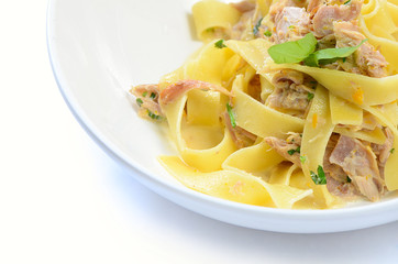 pappardelle with a rabbit and cream
