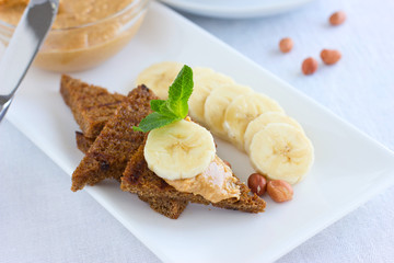 Peanut butter sandwiches with banana