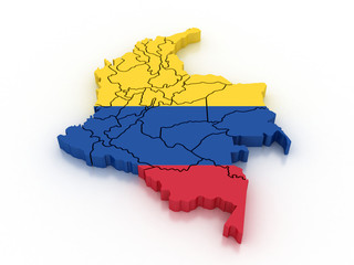 3d Colombia administrative map with flag