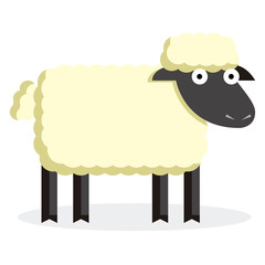 Cute Cartoon Sheep Isolated On White Background