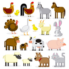 Set Of Different Cartoon Farm Animals Isolated