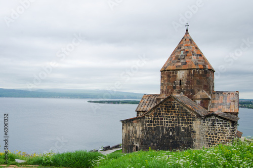 Medieval church on Sevan lake, Armenia