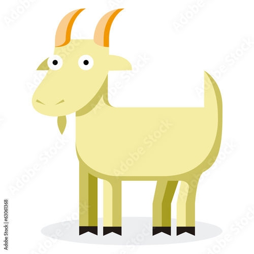 Cute Cartoon Goat Isolated On White Background
