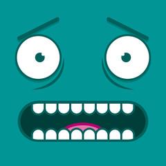 A Vector Cute Cartoon White Scared Face