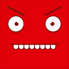 A Vector Cute Cartoon Red Angry Face
