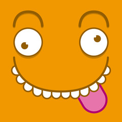 A Vector Cute Cartoon Orange Face With Tongue Out