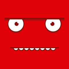 A Vector Cute Cartoon Red Grumpy Face
