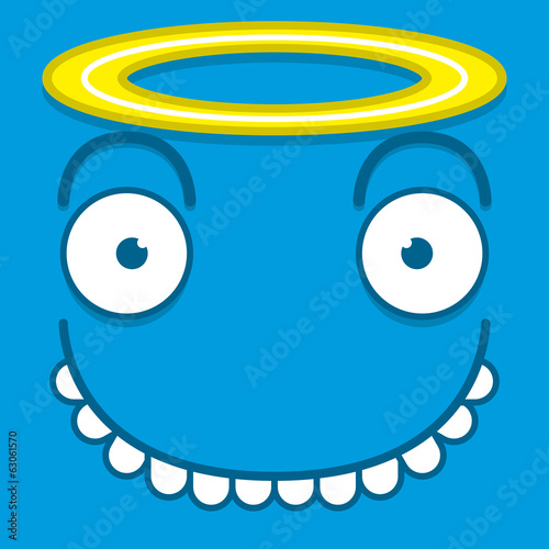 A Vector Cute Cartoon Blue Angel Face