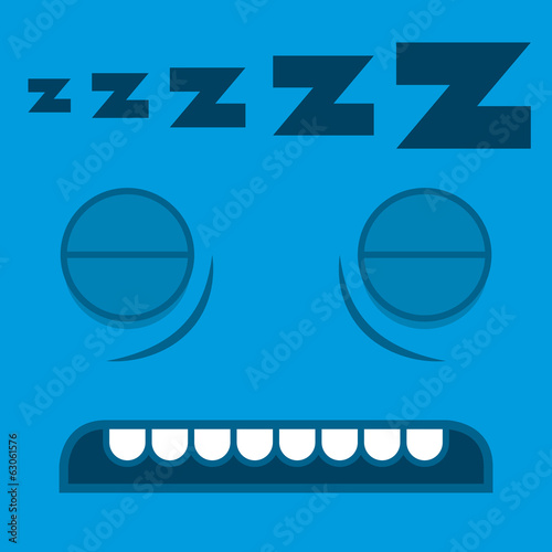 A Vector Cute Cartoon Sleeping Blue Face