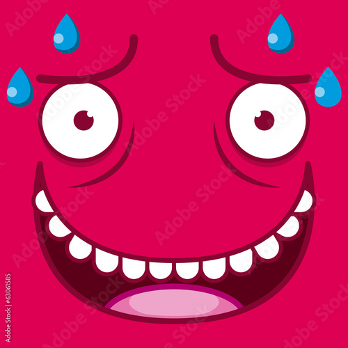 A Vector Cute Cartoon Red Sweaty Face