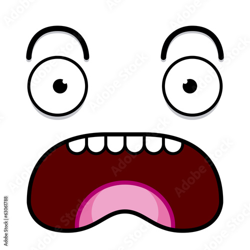 A Vector Cute Cartoon White Screaming Face