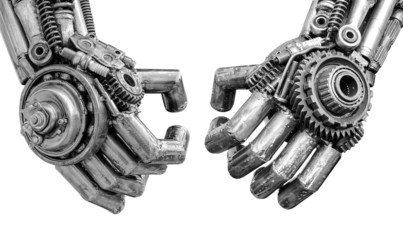 Hand of Metallic cyber or robot made from Mechanical ratchets