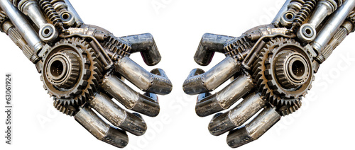 Hand of Metallic cyber or robot made from Mechanical ratchets bo - 63061924