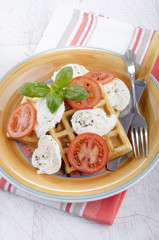 home made waffle with cheese and tomato