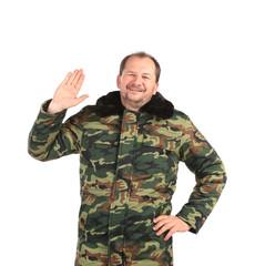 security guard wearing green uniform