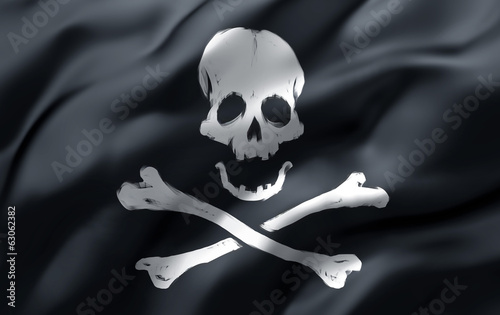 pirate flag in the wind