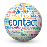 """CONTACT"" Tag Cloud Globe (faq help us details customer service)"