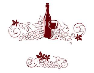 Set design elements -- vine and a wine bottle