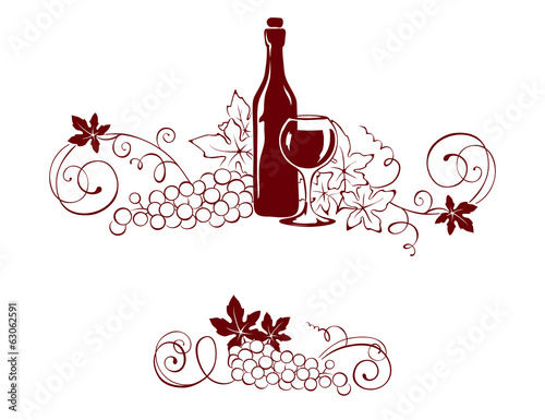 Set design elements -- vine and a wine bottle