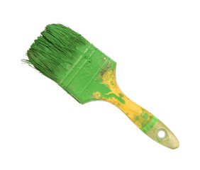 Dirty paint brush isolated on white background