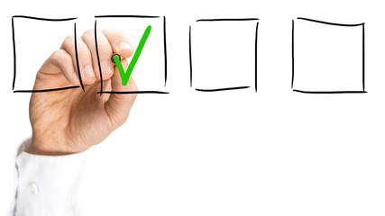 Man ticking a check box on a virtual interface