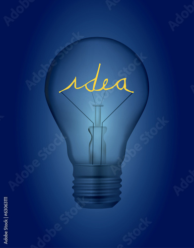 Light bulb with idea inscription