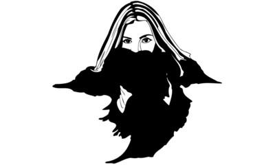 Female Wearing Fur Collar Fashion Illustration