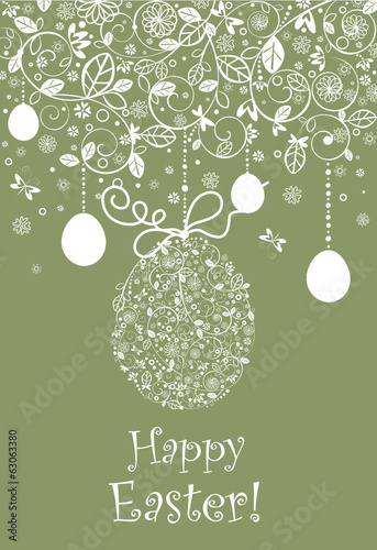 Easter vintage postcard with hanging lacy egg