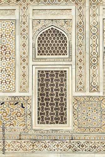 canvas print picture Muster Einlegearbeiten auf Marmor Mausoleum Agra Indien