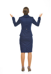 Full length portrait of business woman begging. rear view