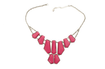 Close up with a pink necklace isolated