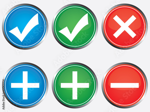 Positive and negative buttons illustration