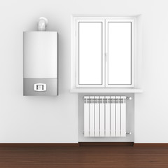 Radiator, boiler and  in home interior